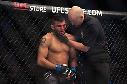 March 16, 2019 - London, United Kingdom - Mike Grundy beats Nad Narimani during UFC Fight Night 147 at the London O2 Arena, Greenwich on Saturday 16th March 2019. (Credit Image: © Mi News/NurPhoto via ZUMA Press)