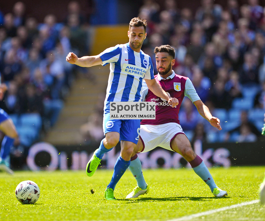 VILLA NEIL TAYLOR HOLDS OF BRIGHTONS SAM BALDOCK, Aston Villa v Brighton Hove Albion Sky Bet Championship Villa Park Sunday 7th May 2017<br /> Photo:Mike Capps