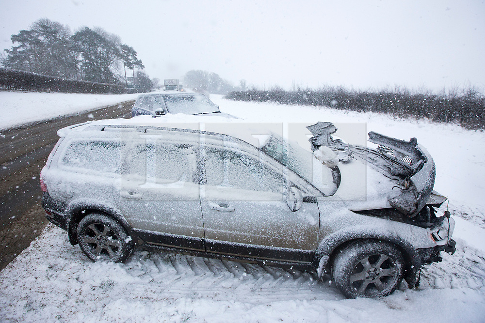© Licensed to London News Pictures. 30/11/2017. Allerston UK. Picture shows a crashed Volvo & crashed Range Rover Sport on the A170 in the village of Brompton this morning after heavy snow in North Yorkshire.Photo credit: Andrew McCaren/LNP