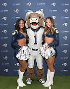 Aug 29, 2018; Los Angeles, CA, USA; Los Angeles Rams cheerleaders and mascot Rampage pose during the Kickoff for Charity Luncheon at the InterContinental Los Angeles Downtown Hotel.
