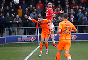 Dylan Connolly of Bradford City in action with Salford City's Oscar Threlkeld(4) during the EFL Sky Bet League 2 match between Salford City and Bradford City at the Peninsula Stadium, Salford, United Kingdom on 7 March 2020.