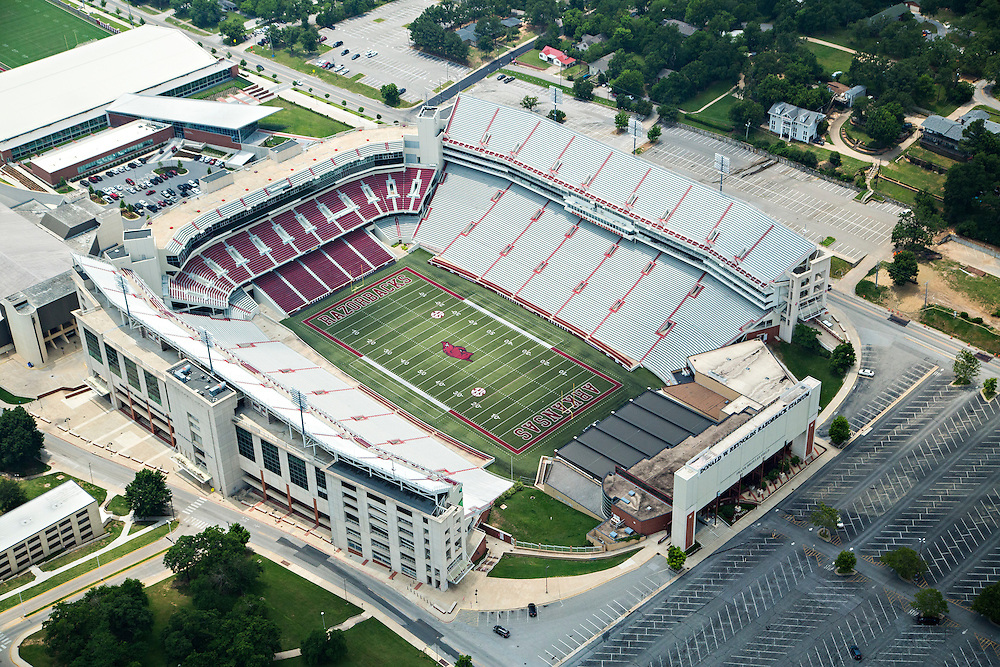 Donald W. Reynolds Razorback Stadium aerial on the campus of the University of Arkansas