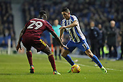 Brighton & Hove Albion winger Anthony Knockaert (11) takes on Ipswich Town defender Josh Emmanuel (29) during the EFL Sky Bet Championship match between Brighton and Hove Albion and Ipswich Town at the American Express Community Stadium, Brighton and Hove, England on 14 February 2017.