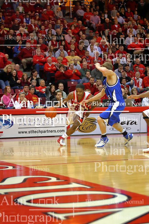 """06 January 2007: Keith """"Boo"""" Richardson cuts from the corner to the basket with Cole Holmstrom on his tail.The Sycamores of Indiana State University topped the Redbirds home 54 - 50 inside Redbird Arena in Normal Illinois on the campus of Illinois State University.<br />"""