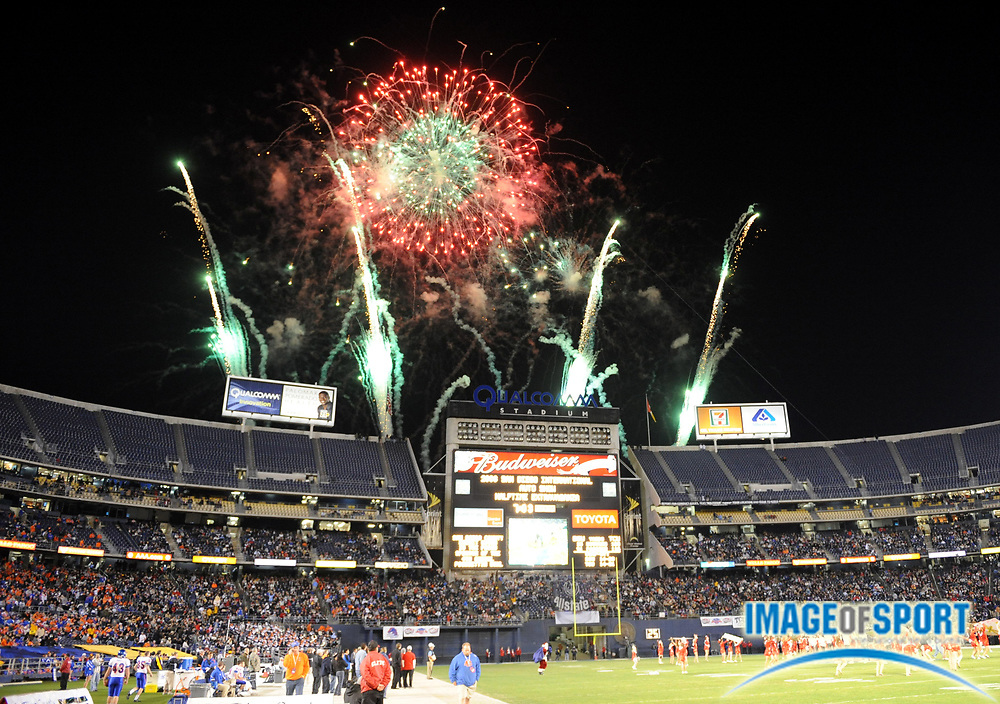 Dec 23, 2008; San Diego, CA, USA; Fireworks explodes over Qualcomm Stadium during halftime of the Poinsettia Bowl between the Boise State Broncos and the Texas Christian Horned Frogs.