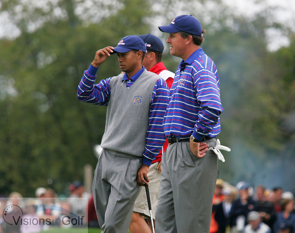 Tiger Woods and Phil Mickelson<br /> 040917,  Oakland Hills GC, Detroit, Michigan, USA, 35th Ryder Cup matches 2004<br /> picture Mark Newcombe / visionsingolf.com