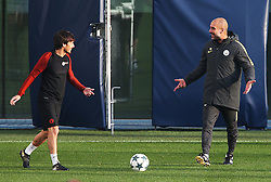 Manchester City manager Pep Guardiola talks with David Silva - Mandatory by-line: Matt McNulty/JMP - 31/10/2016 - FOOTBALL - City Football Academy - Manchester, England - Manchester City v Barcelona - UEFA Champions League - Group C
