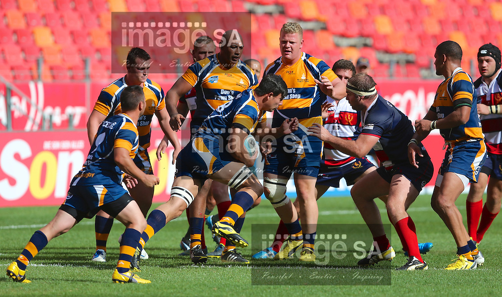 PORT ELIZABETH, SOUTH AFRICA - Saturday 14 March 2015, ball carrier Ronald Gerald Scheckle of Don&rsquo;s Pawn Shop PE Police during the fourth round match of the Cell C Community Cup between Don's Pawn Shop Port Elizabeth Police and Durbanville-Bellville at the Nelson Mandela Bay stadium.<br />Photo by Richard Huggard/ImageSA/SARU