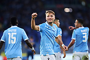 Ciro Immobile of Lazio celebrates after scoring during the Italian championship Serie A football match between SS Lazio and US Lecce Sunday, Nov. 10, 2019 at the Stadio Olimpico in Rome. SS Lazio defeated US Lecce 4-2. (Federico Proietti/Image of Sport)