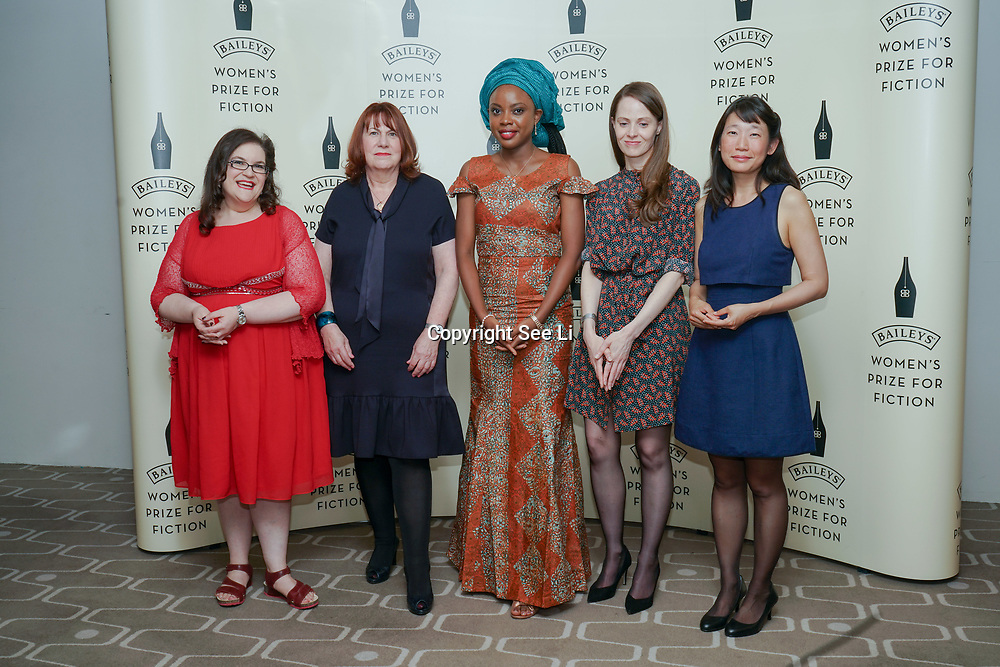 London,UK. 7th June 2017. Bailey's Women Prize for Fiction 2017 shortlisted authors (L-R) Naomi Alderman, with her book 'The Power', Linda Grant, with her book 'The Dark Circle', Ayobami Adebayo, with her book 'Stay With Me', Gwendoline Riley, with her book 'First Love' and Madeleine Thien, with her book 'Do Not Say We Have Nothing'