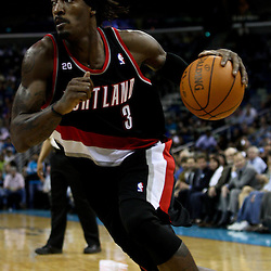 March 30, 2011; New Orleans, LA, USA; Portland Trail Blazers small forward Gerald Wallace (3) against the New Orleans Hornets during the third quarter at the New Orleans Arena. The Hornets defeated the Trail Blazers 95-91.   Mandatory Credit: Derick E. Hingle