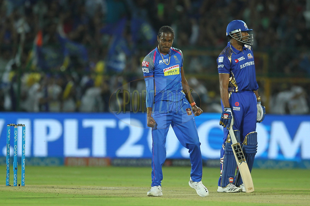 Jofra Archer of the Rajasthan Royals celebrates the wicket of Mitchell McCleneghan of the Mumbai Indians during match twenty one of the Vivo Indian Premier League 2018 (IPL 2018) between the Rajasthan Royals and the Mumbai Indians held at the The Sawai Mansingh Stadium in Jaipur on the 22nd April 2018.<br /> <br /> Photo by: Deepak Malik / IPL/ SPORTZPICS