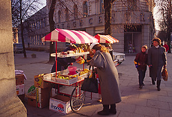 Street Vendor Women Picking Produce Russia