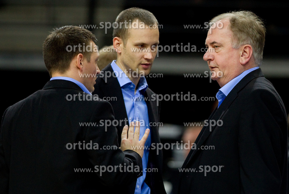 Aleksander Sekulic, assistant coach of Slovenia, Gasper Potocnik, assistant coach of Slovenia and Bozidar Maljkovic, coach of Slovenia during basketball game between National basketball teams of Slovenia and Serbia in 7th place game of FIBA Europe Eurobasket Lithuania 2011, on September 17, 2011, in Arena Zalgirio, Kaunas, Lithuania. Slovenia defeated Serbia 72 - 68 and placed 7th. (Photo by Vid Ponikvar / Sportida)