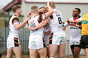 Bradford Bulls scrum half Cory Aston (41) scores a try and celebrates to make the score 0-4 during the Kingstone Press Championship match between Dewsbury Rams and Bradford Bulls at the Tetley's Stadium, Dewsbury, United Kingdom on 10 September 2017. Photo by Simon Davies.