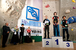 Men Overall 2010 second placed  Jakob Schubert of Austria, winner Adam Ondra of Czech republic and third placed Sachi Amma of Japan at Trophy ceremony during Final IFSC World Cup Competition in sport climbing Kranj 2010, on November 14, 2010 in Arena Zlato polje, Kranj, Slovenia. (Photo By Vid Ponikvar / Sportida.com)