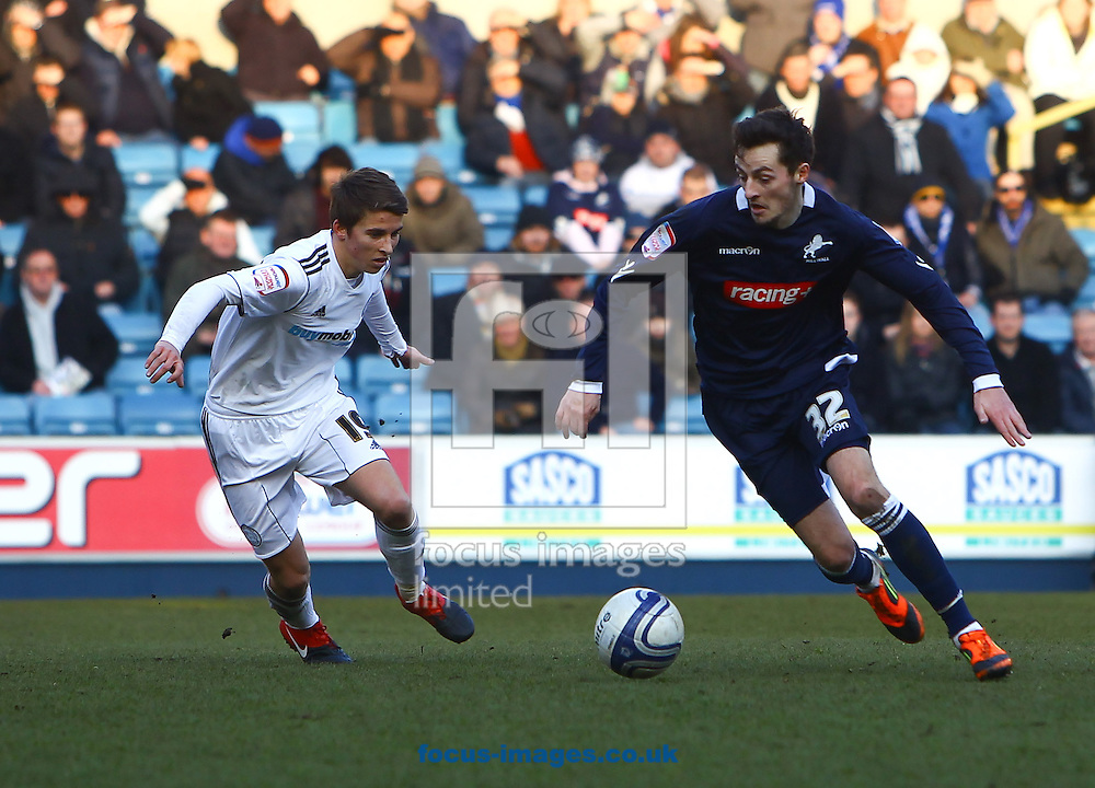Picture by John Rainford/Focus Images Ltd. 07506 538356.11/02/12.Ryan Mason of Millwall and Tom Carroll of Derby County during the Npower Championship match at The Den Stadium, London.