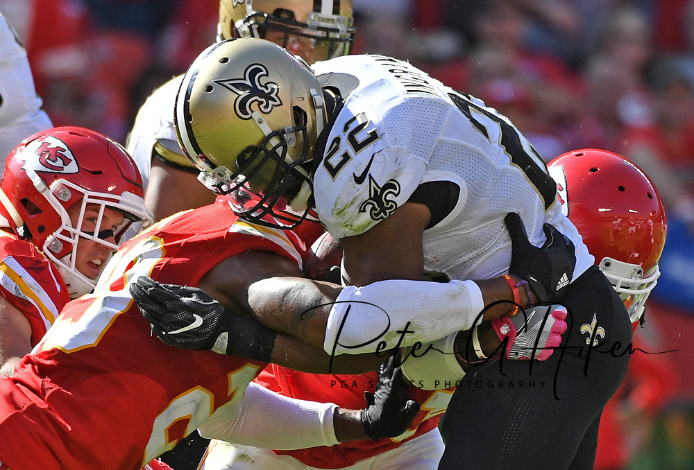 KANSAS CITY, MO - OCTOBER 23:  Running back Mark Ingram #22 of the New Orleans Saints gets tackled by safety Eric Berry #29 of the Kansas City Chiefs during the first half on October 23, 2016 at Arrowhead Stadium in Kansas City, Missouri.  (Photo by Peter G. Aiken/Getty Images) *** Local Caption *** Mark Ingram;Eric Berry