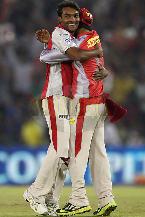 Sandeep Sharma celebrates the wicket of Biplab Samantray during match 59 of of the Pepsi Indian Premier League between The Kings XI Punjab and the Sunrisers Hyderabad held at the PCA Stadium, Mohal, India  on the 11th May 2013..Photo by Ron Gaunt-IPL-SPORTZPICS ..Use of this image is subject to the terms and conditions as outlined by the BCCI. These terms can be found by following this link:..http://www.sportzpics.co.za/image/I0000SoRagM2cIEc