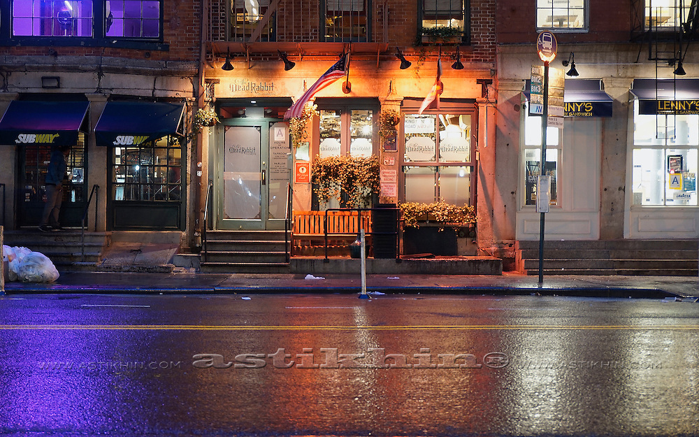 Night in Lower Manhattan, New York City, USA.
