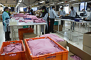 A view down a C & A production line of Pratibha Syntax factory where organic cotton is being used to make clothes.