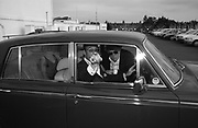 Trip to the Walthamstow dog Race track. A.A. Gill,Michael Gambon., Nicola  Fornby ( behind )  and a Rolls Royce. © Copyright Photograph by Dafydd Jones 66 Stockwell Park Rd. London SW9 0DA Tel 020 7733 0108 www.dafjones.com