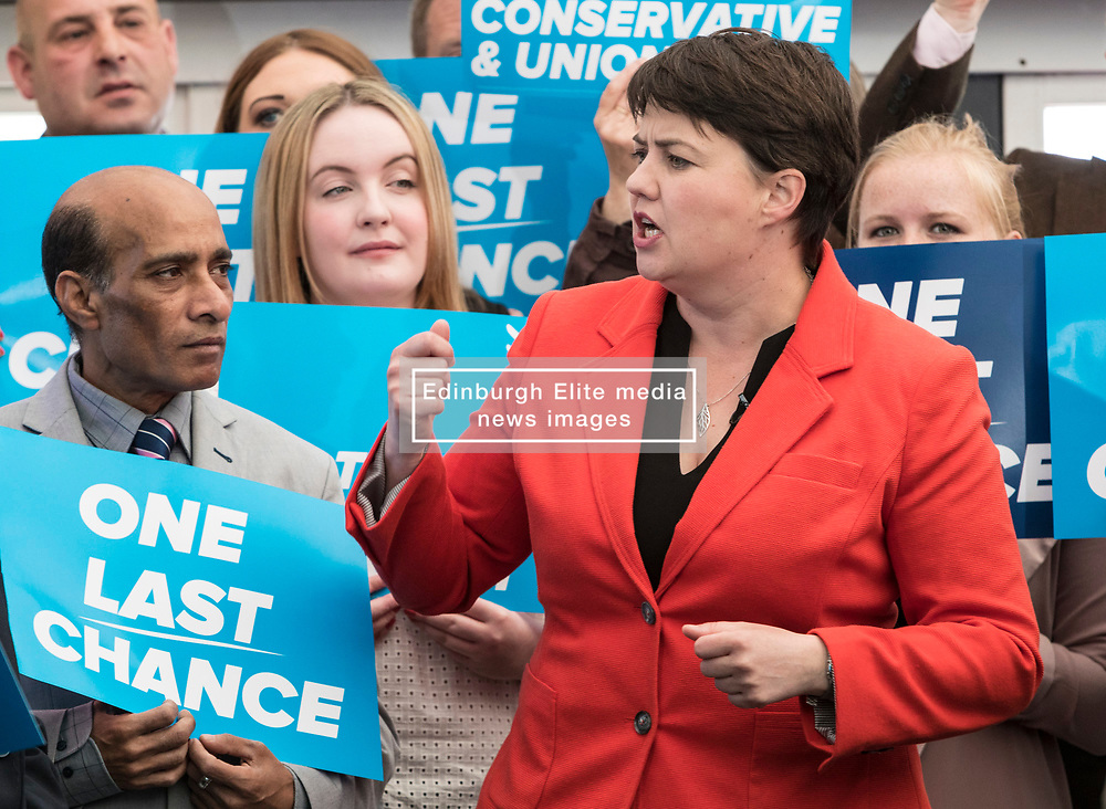 Ruth Davidson gives Conservative supporters a final rallying call at Glasshouse in Edinburgh