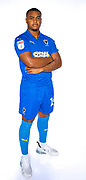 AFC Wimbledon Kyron Stabana (14) during the official team photocall for AFC Wimbledon at the Cherry Red Records Stadium, Kingston, England on 8 August 2019.