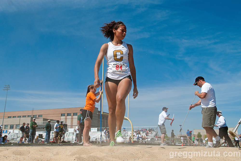 Capital senior Jade Childs competes in the long jump during the 5A Idaho Track and Field Championships on May 18, 2012 at Rocky Mountain High School, Meridian, Idaho. Childs finished third with a jump of 18-02.25.