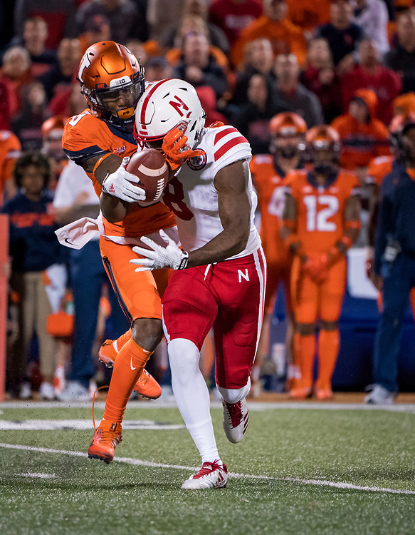 Stanley Morgan Jr. (8) of the Nebraska Cornhuskers catches a pass despite the efforts of Nate Hobbs (8) of the Illinois Fighting Illini during Nebraska's game vs. Illinois at Memorial Stadium in Champaign, Illinois on Sept. 29, 2017. Photo by Aaron Babcock, Hail Varsity