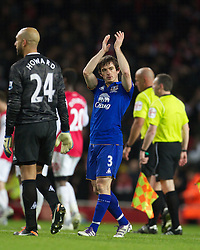 LONDON, ENGLAND - Saturday, December 10, 2011: Everton's Leighton Baines looks dejected as his side lose 1-0 to Arsenal during the Premiership match at the Emirates Stadium London. (Pic by Phil Cole/Propaganda)