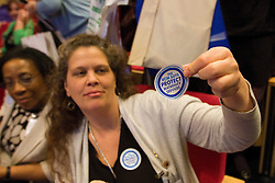© under license to London News Pictures. 17/11/2010. Delegates at the The Royal College of Midwives' conference, in Manchester, hand out stickers to campaign to protect maternity services