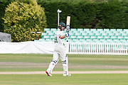 50 - Colin Ackemann acknowledges his team mates on reaching 50 before the Bob Willis Trophy match between Lancashire County Cricket Club and Leicestershire County Cricket Club at Blackfinch New Road, Worcester, United Kingdom on 4 August 2020.