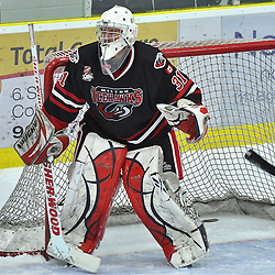 COBOURG, ON - Oct 12 : Ontario Junior League Game Action between, Milton Icehawk's Hockey Club and the North York Ranger's Hockey Club at the OJHL Governors Showcase Tournament. #31 goaltender Andre Keire of the Milton Icehawk's during second period game action..(Photo by Jennifer-Rose DeVincentis / OJHL Images