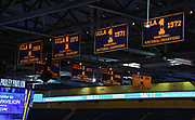 Nov 6, 2019; Los Angeles, CA, USA; Detailed view of UCLA Bruins NCAA championship banners (1968-69), (1969-70), (1970-71) , (1971-72), 1972-73), (1974-75), (1977-78) and (1994-95) a at Pauley Pavilion.
