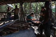 El Diamante, Meta, Colombia - 15.09.2016        <br /> <br /> Kitchen area of the guerilla camp during the 10th conference of the marxist FARC-EP in El Diamante, a Guerilla controlled area in the Colombian district Meta. Few days ahead of the peace contract passing after 52 years of war with the Colombian Governement wants the FARC decide on the 7-days long conferce their transformation into a unarmed political organization. <br /> <br /> Kueche des Guerilla-Camps zur zehnten Konferenz der marxistischen FARC-EP in El Diamante, einem von der Guerilla kontrollierten Gebiet im kolumbianischen Region Meta. Wenige Tage vor der geplanten Verabschiedung eines Friedensvertrags nach 52 Jahren Krieg mit der kolumbianischen Regierung will die FARC auf ihrer sieben taegigen Konferenz die Umwandlung in eine unbewaffneten politischen Organisation beschlie&szlig;en. <br />  <br /> Photo: Bjoern Kietzmann