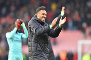 Winning goal hero Pierre-Emerick Aubameyang (14) of Arsenal applauds the travelling fans at full time after Arsenal beat Bournemouth 2-1 during the Premier League match between Bournemouth and Arsenal at the Vitality Stadium, Bournemouth, England on 25 November 2018.
