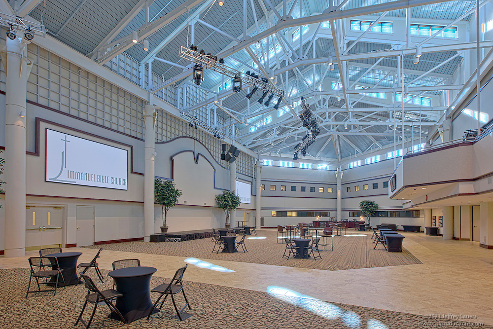 Architectural interior photography the Atrium at the Immanuel Bible Church in Springfield Virginia