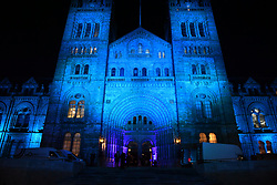 © Licensed to London News Pictures. 07/02/2018. London, UK. General view of the venue lit up blue ahead of arrivals at the Natural History Museum in London for the annual Black and White Ball, a fundraiser held by the Conservative Party. Photo credit: Ben Cawthra/LNP