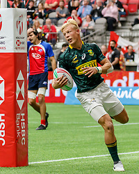 March 9, 2019 - Vancouver, BC, U.S. - VANCOUVER, BC - MARCH 10: Johannes Pretorius #6 of South Africa scores during Game #7- South Africa 7s vs Chile 7s in Pool A match-up at the Canada Sevens held March 9-10, 2019 at BC Place Stadium in Vancouver, BC, Canada.(Photo by Allan Hamilton/Icon Sportswire) (Credit Image: © Allan Hamilton/Icon SMI via ZUMA Press)