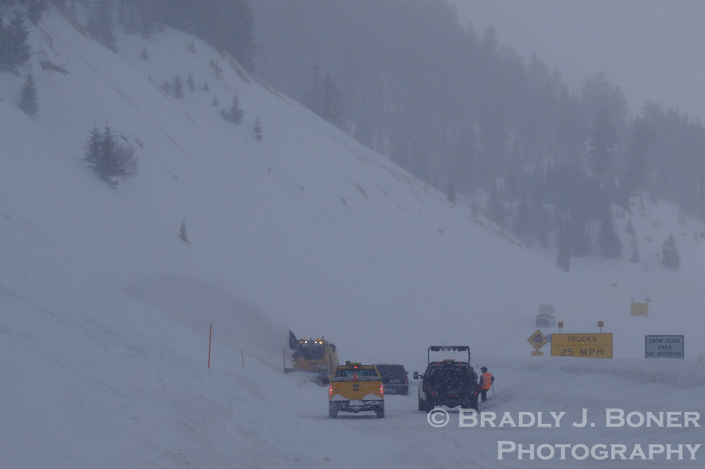 Small slide at the base of Twin Slides that closed Teton Pass