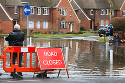 © Licensed to London News Pictures. 10/02/2014. Datchet, Berkshire, UK. Rising flood waters creeping close to properties in the village centre. Flooding in Datchet today, 10th February 2014 after the River Thames burst its banks. Photo credit : Rob Arnold/LNP