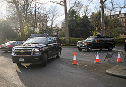 © Licensed to London News Pictures. 03/12/2019. London, UK. Part of the US President's motorcade arrives at Winfield House in Regents Park, London, where President Donald Trump is staying during the NATO leaders summit. Worlds leaders are due to attend a series of events over a two day NATO summit which will mark the 70th anniversary of the alliance of nations. Photo credit: Ben Cawthra/LNP