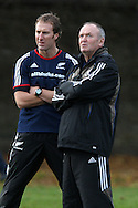 Graham Henry, the NZ head coach. The New Zealand rugby team training at  Sophia Gardens in Cardiff ahead of the Match against Wales..pic by Andrew Orchard, Andrew Orchard sports photography.