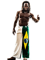 one Brazilian black man thumb up on white background