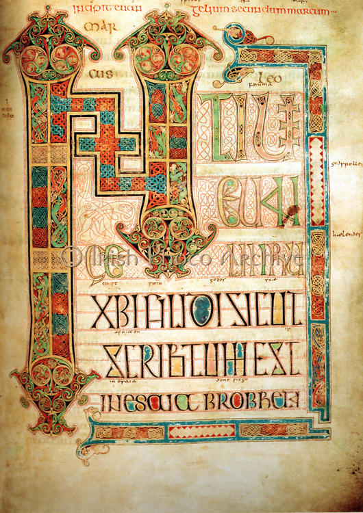The Book of Kells (Dublin, Trinity College Library), is an illuminated manuscript Gospel book in Latin, containing the four Gospels of the New Testament together with various prefatory texts and tables. It was created by Celtic monks ca. 800 or slightly earlier. It is a masterwork of Western calligraphy and represents the pinnacle of Insular illumination.