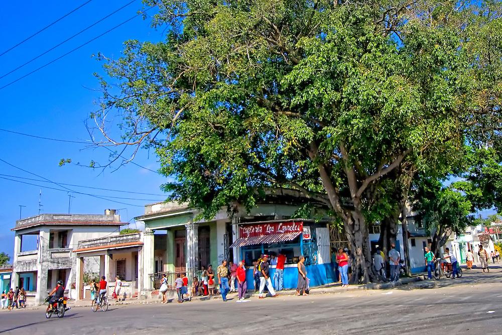 Busy corner in Havana Regla, Cuba.