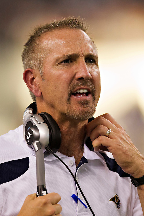 ARLINGTON, TX - OCTOBER 23:   Head Coach Steve Spagnuolo of the St. Louis Rams on the sidelines during a game against the Dallas Cowboys at the Cowboy Stadium on October 23, 2011 in Arlington, Texas.  The Cowboys defeated the Rams 34 to 7.  (Photo by Wesley Hitt/Getty Images) *** Local Caption *** Steve Spagnuolo