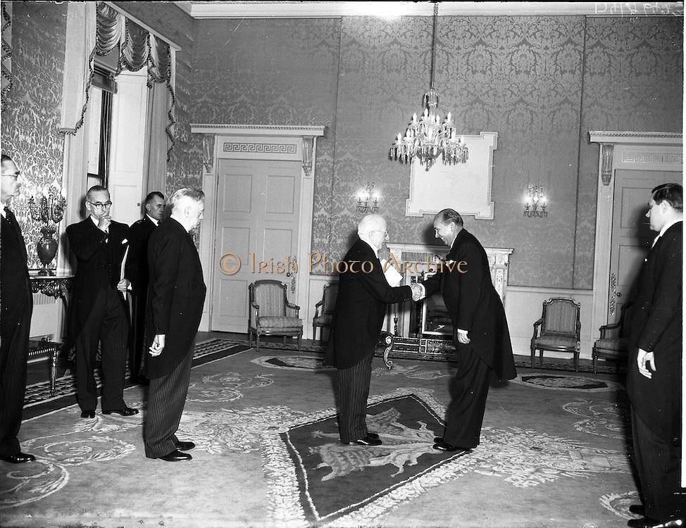 20/11/1956<br /> 11/20/1956<br /> 20 November 1956<br /> German Ambassador His Excellency Dr Felician Prill, presents his credentials to President Sean T. O'Kelly at Aras an Uachtarain, Phoenix Park, Dublin. Office of President.