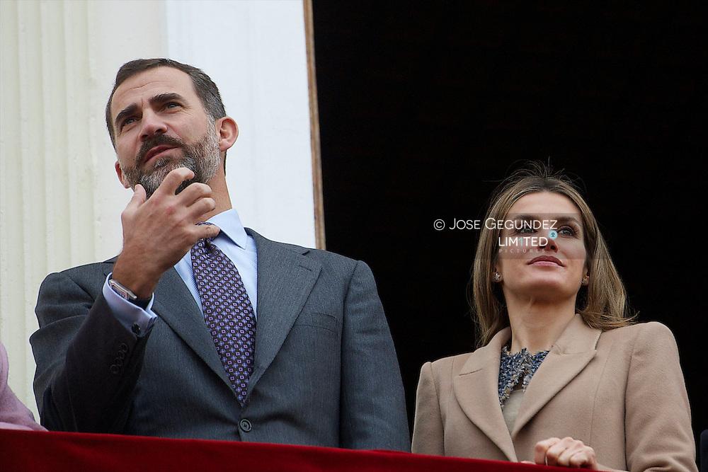 Prince Felipe and Princess Letizia visit Caspe village, Zaragoza, Spain on November 7, 2012